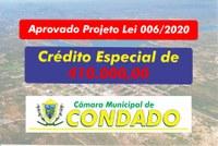 Aprovado Projeto de Lei 006/2020