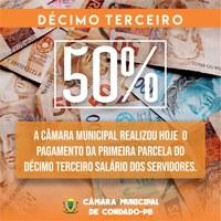 Pagamento de 50% do Décimo Terceiro